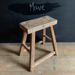 Mave | Rustic Wood Antique Stool | Selected Measured