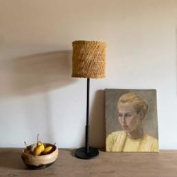 Matte Black lamp | Rattan shade