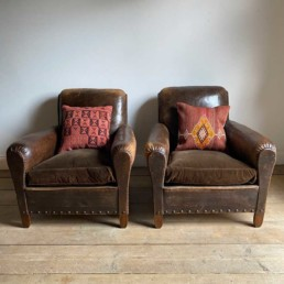 Antique French Leather Club Chairs | Pair