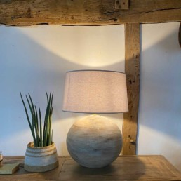 Wooden Sphere Lamp Base and Shade