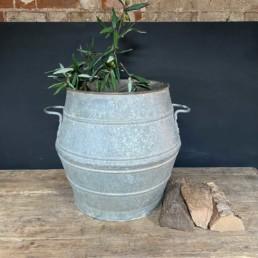 Orginal Antique Dolly Tub Olive Planter