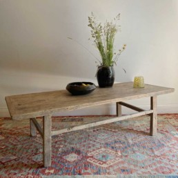 Large Antique Elm Coffee Table | Ebba