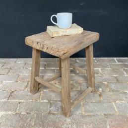 Large Antique stool side table | Merideth