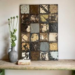 Vintage tin tile Patchwork Artwork | L