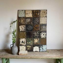 Vintage tin tile Patchwork Artwork   I