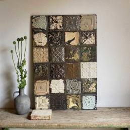 Vintage tin tile Patchwork Artwork | J