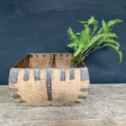 Antique Wooden Paddy Field Trug | Curved