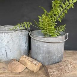 Large Round Galvanised Planters Swing Handle