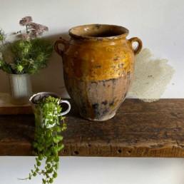 antique French confit pot yellow - Alexandra