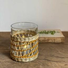 Woven Seagrass Glass Hurricane Lantern