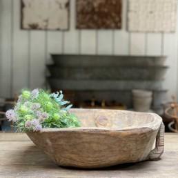 Antique Rustic Wooden Dough Bowl   Raoul