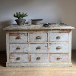 Antique Kitchen Island 9 Drawers and Pigeonholes