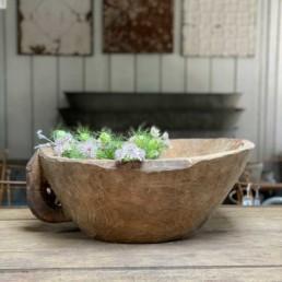 Antique Rustic Wooden Dough Bowl | Ritchi