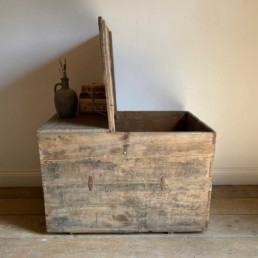 Antique Weathered timber merchant Trunk   Palmer