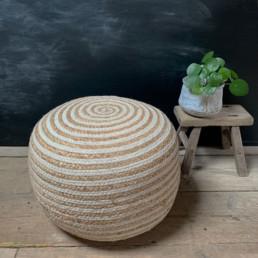 Striped Cotton and Jute Pouf | Ottalie