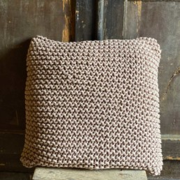 Cappuccino Chunky Knitted Cotton Cushion
