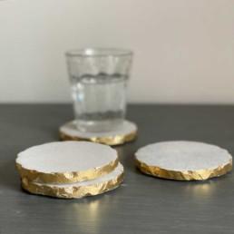 Set of four White Marble Coaster | Gold Edge