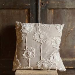 Flower Embroidered Cushion | Allium